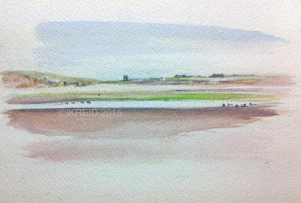 northumberland coast watercolour copy