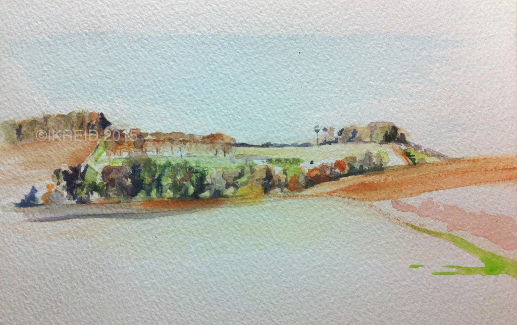 towards jedburgh from swinnie watercolour copy